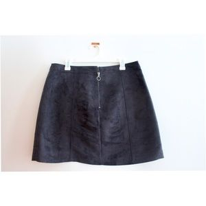 Black Faux Soft Leather Skirt
